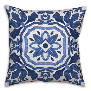 Hubbert Watercolor Damask Tile Throw Pillow