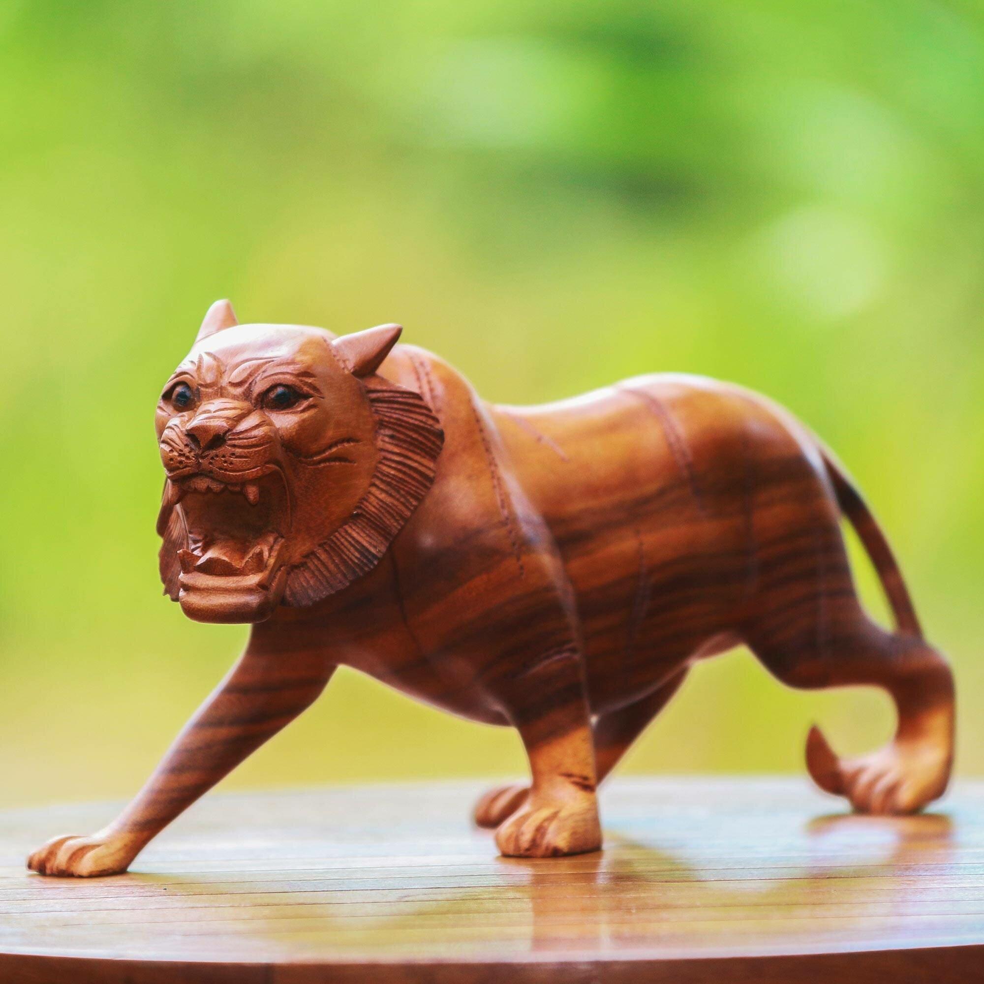 World Menagerie Toronto Harimau Roar Wood Figurine Wayfair