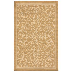 Brasstown Scroll Vine Almond/Camel Indoor/Outdoor Area Rug