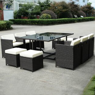 Ivy Bronx Williamstown 11 Piece Rattan Dining Set with Cushions