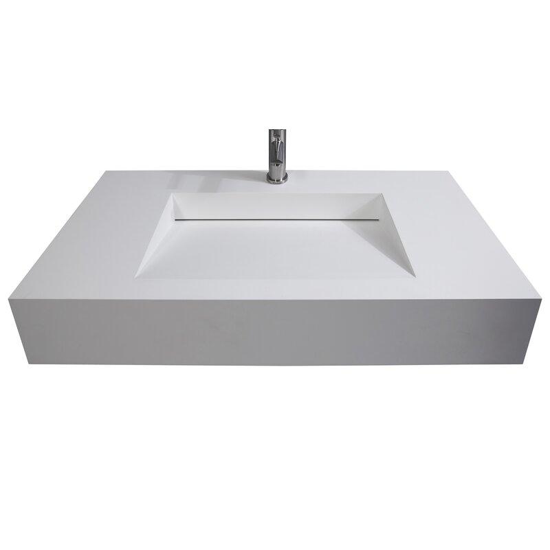 Orren Ellis Azeem Stone Rectangular Wall Mount Bathroom Sink Wayfair