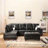 Carlyjo 103.5'' Leather Match Sofa & Chaise with Ottoman by Latitude Run®