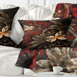 Floral Fractal Flower Pattern Lumbar Pillow