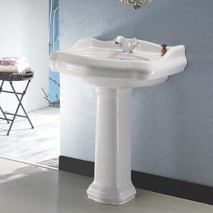 1837 Ceramic 24 inch  Pedestal Bathroom Sink with Overflow
