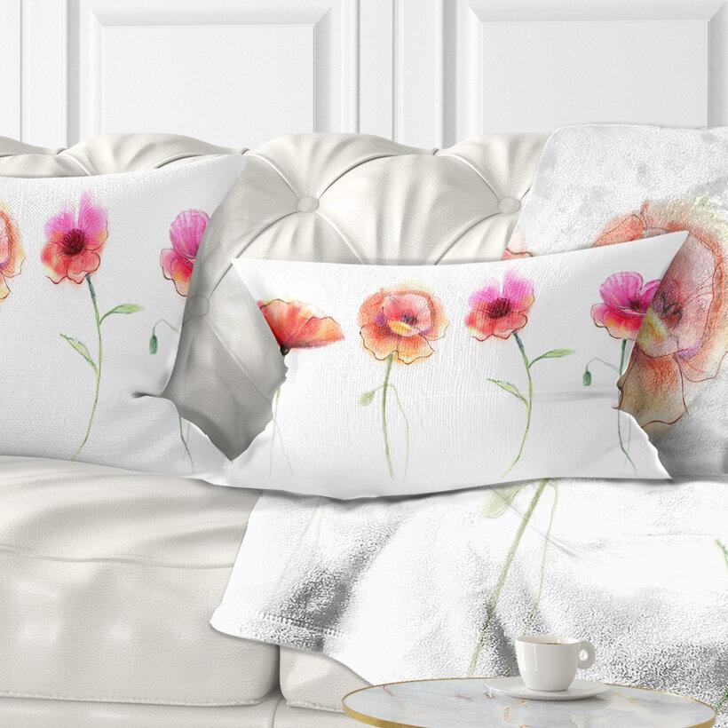 East Urban Home Flower Watercolor Poppy Sketch Lumbar Pillow Wayfair