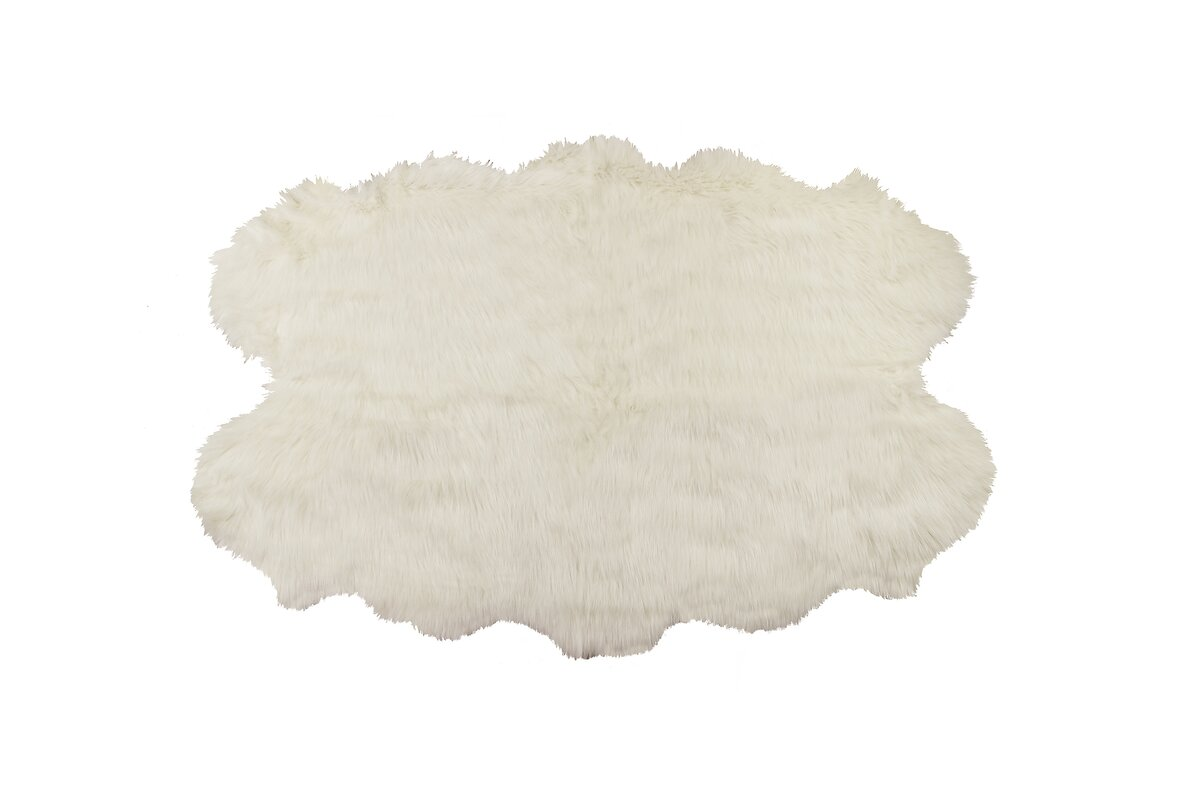 Shayne Off White Tufted Faux Sheepskin Area Rug