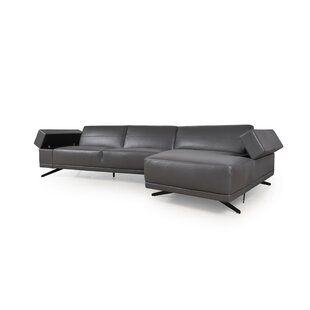 Stone Leather Sectional by Orren Ellis Best Design