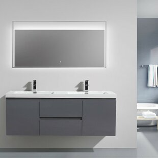 Lina 59 Wall-Mounted Double Bathroom Vanity Set by Orren Ellis