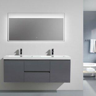 MOB 59 Wall-Mounted Double Bathroom Vanity Set by Morenobath