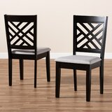 Ardziv Upholstered Solid Wood Cross Back Parsons Chair (Set of 2) by Winston Porter