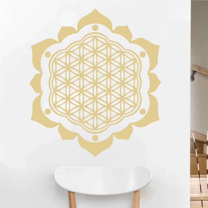 eyvaldecal flower of life with petals sacred geometry vinyl wall