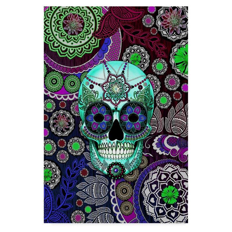 Trademark Art Sugar Skull Sombrero Night Acrylic Painting Print On Wrapped Canvas Wayfair Ca