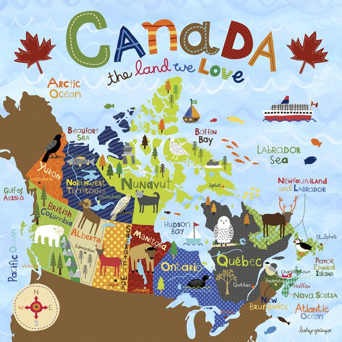 Map Of Canada Kids.Henrietta Canada The Land We Love By Lesley Grainger Paper Print