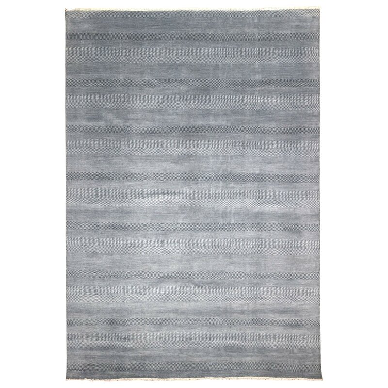 Isabelline One-of-a-Kind Zorya Hand-Woven Wool and Silk White Area Rug