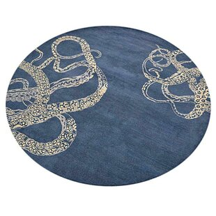 Creager Hand-Tufted Wool Blue Beige Rug by Breakwater Bay