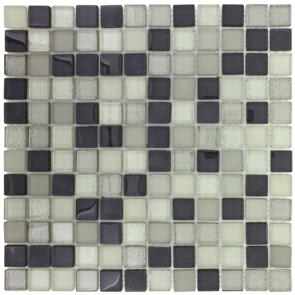 Mosaictileoutlet Stacked Squares Glossy 1 X 1 Glass Mosaic Tile In Gray White Wayfair