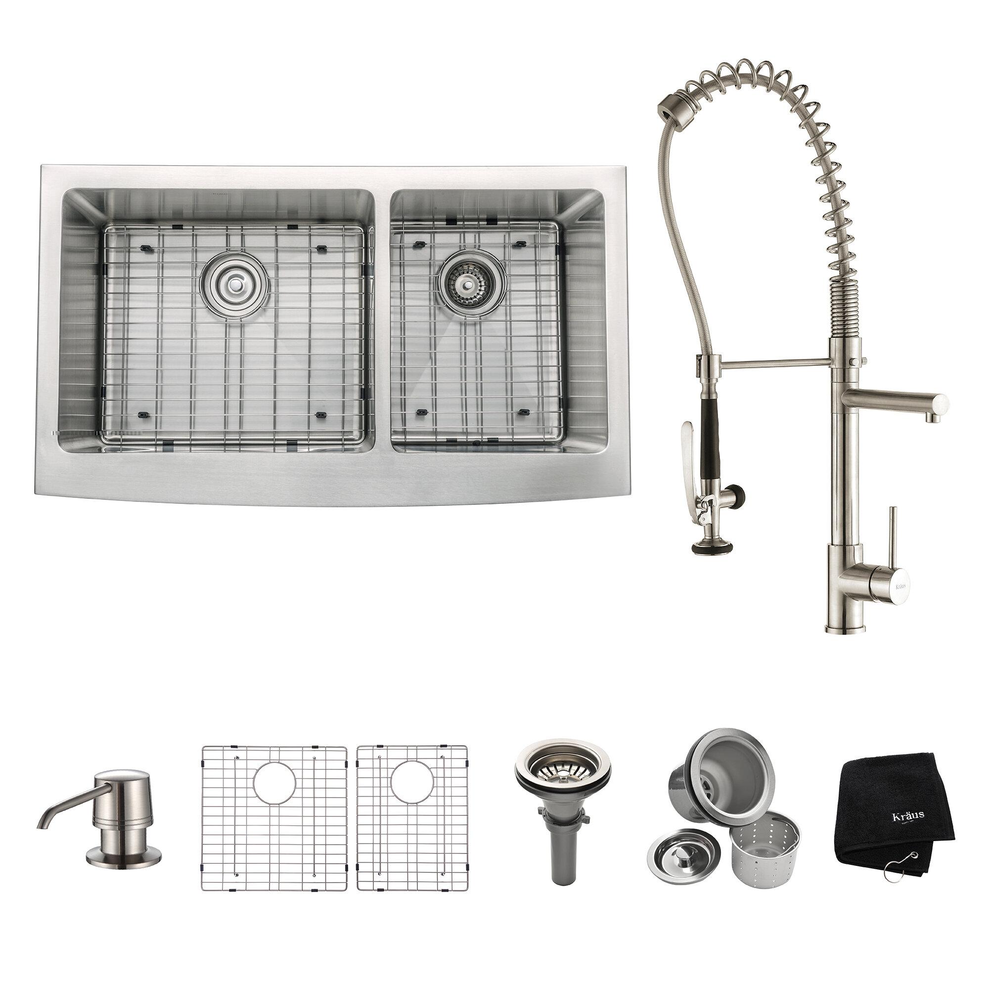 35 9 L X 20 75 W Double Basin Farmhouse Kitchen Sink Set With Kitchen Faucet And Soap Dispenser