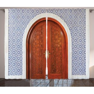 Williston Moroccan Antique Wooden Door Of Asian Architecture With Star Form Oriental Belief Picture Graphic Print Text Semi Sheer Rod Pocket Curtain