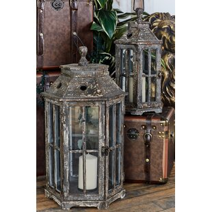 2 Piece Wood and Glass Lantern Set by Cole & Grey