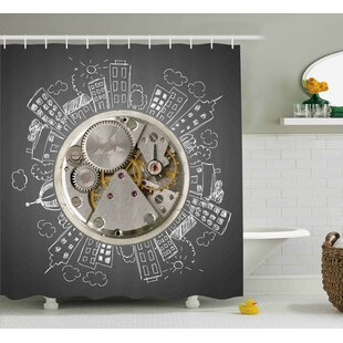 Aule An Alarm Clock Print With Buildings and Clouds Around It Checking The Time Single Shower Curtain