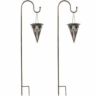 Charlton Home Mignon Decorative Cone Outdoor Hanging Solar Light Garden Stake Set (Set of 2)