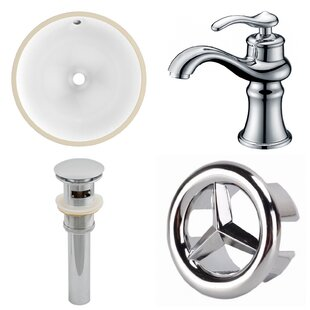 American Imaginations CUPC Ceramic Circular Undermount Bathroom Sink with Faucet and Overflow