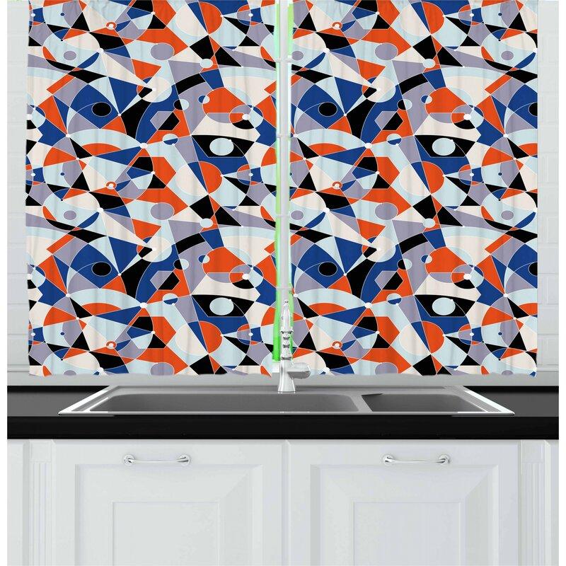 East Urban Home Mid Century Kitchen Curtain Wayfair