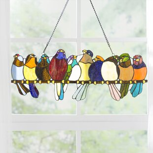 3654d0df77d  Birds On A Wire  Tiffany Style Stained Glass Window Panel
