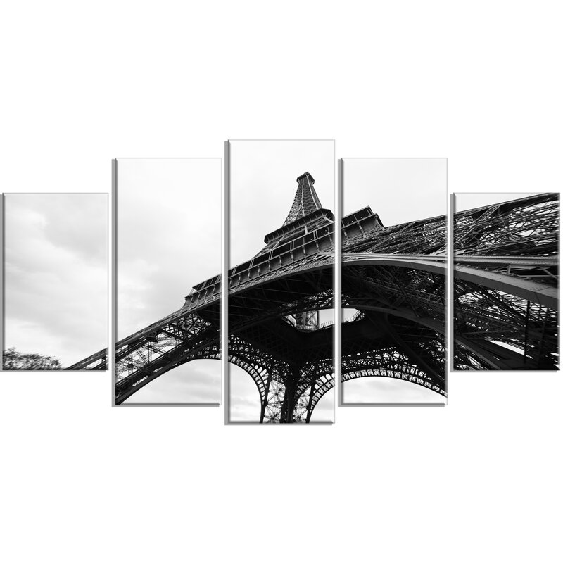 Paris Eiffel Tower In Black And White Side View 5 Piece Wall Art On