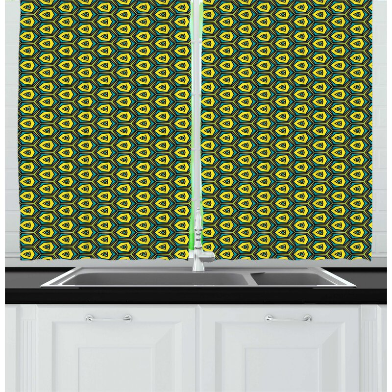East Urban Home Yellow And Green Kitchen Curtain Wayfair