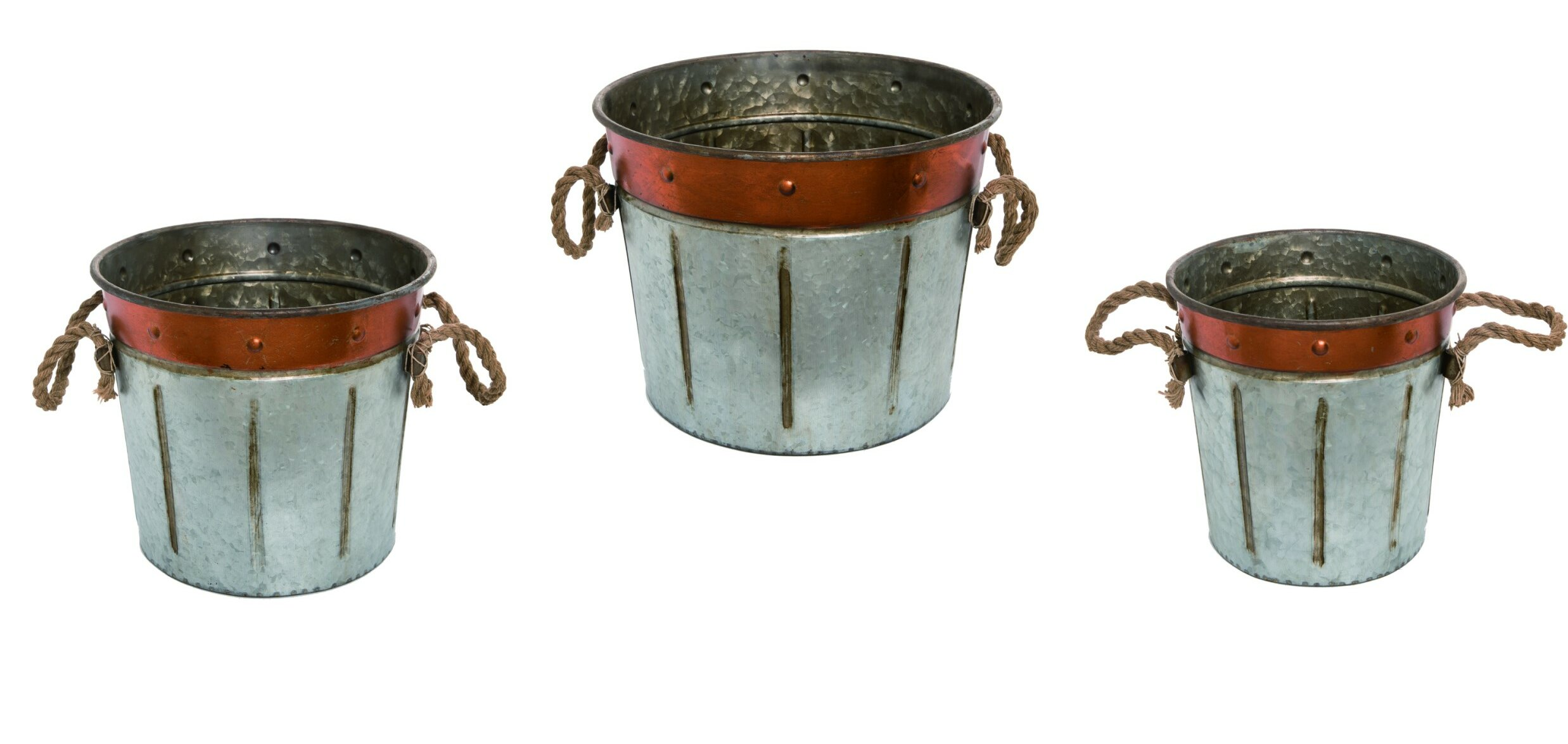 Gracie Oaks Harvest 3 Piece Metal Bucket Set Wayfair