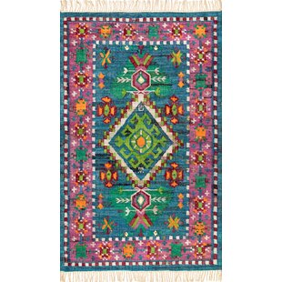 Find the perfect Caywood Flatweave Cotton Blue/Pink/Green Area Rug ByBungalow Rose