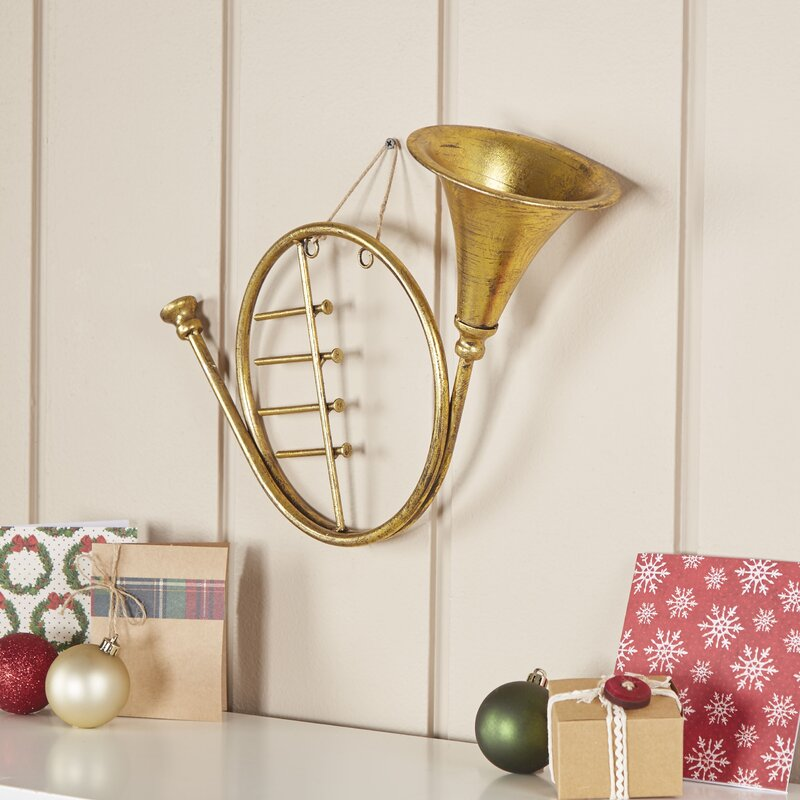 Golden French Horn Ornament