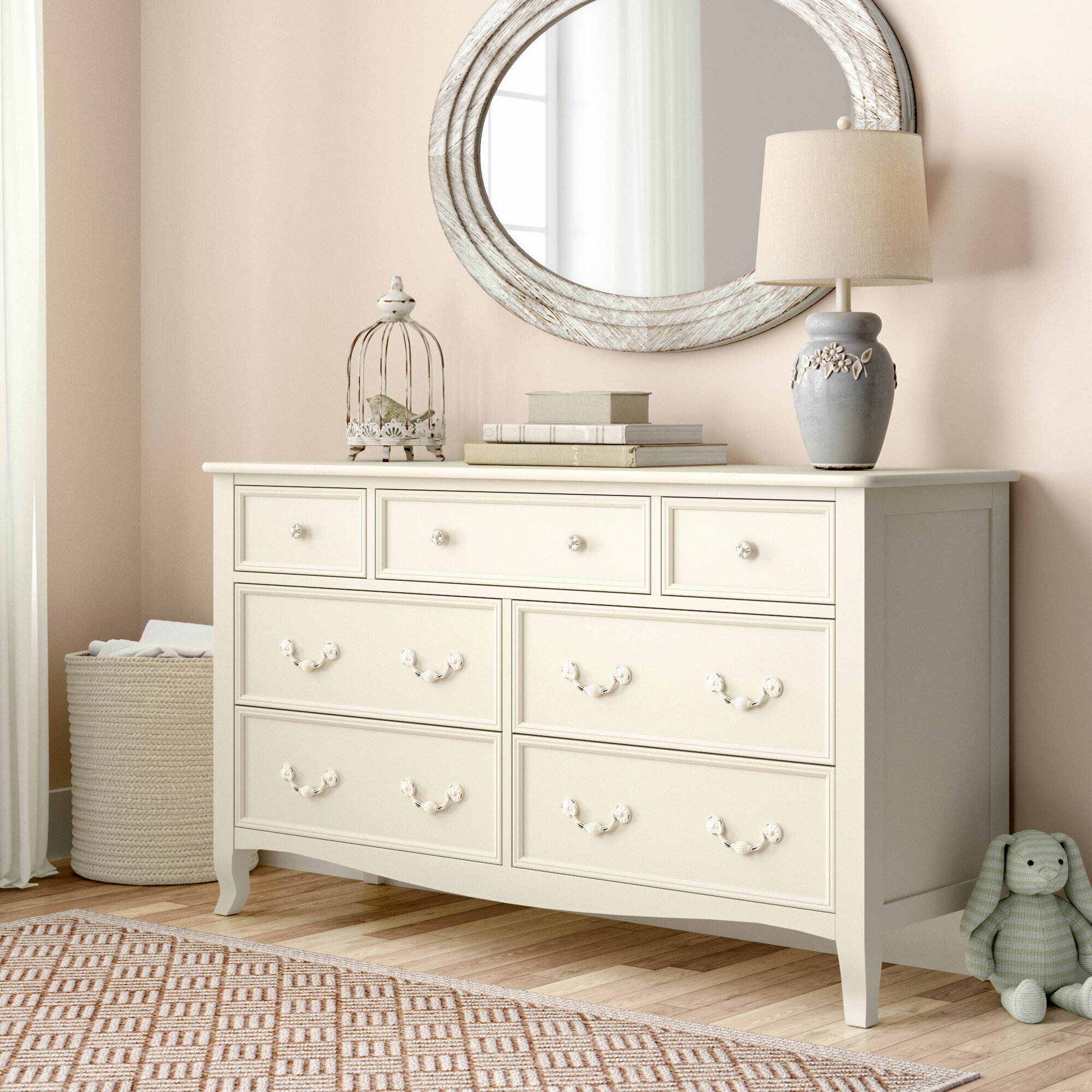 Lilia French Inspired 7 Drawer White Wood Double Dresser with Mirror
