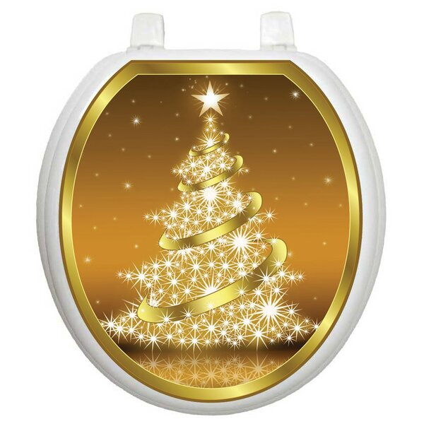 gold toilet seat cover. Holiday Gold Christmas Tree Toilet Seat Decal Decals You ll Love  Wayfair