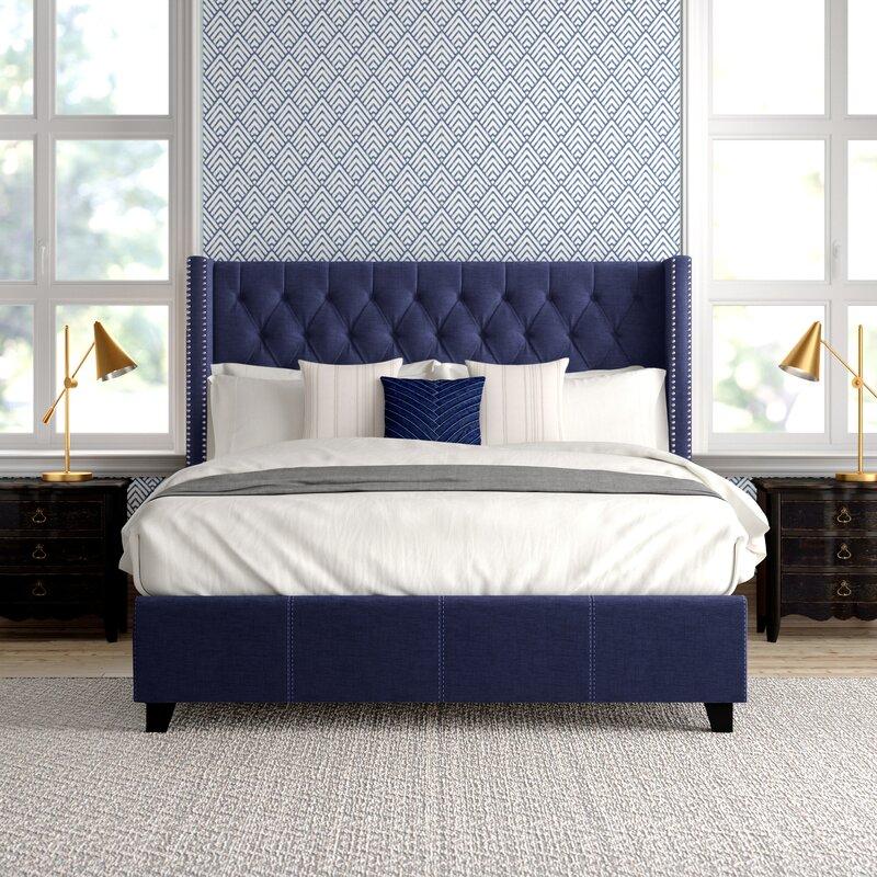 Tufted Upholstered Low Profile Platform Bed