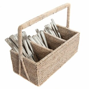 Rattan 3 Section Cutlery Holder with Handle