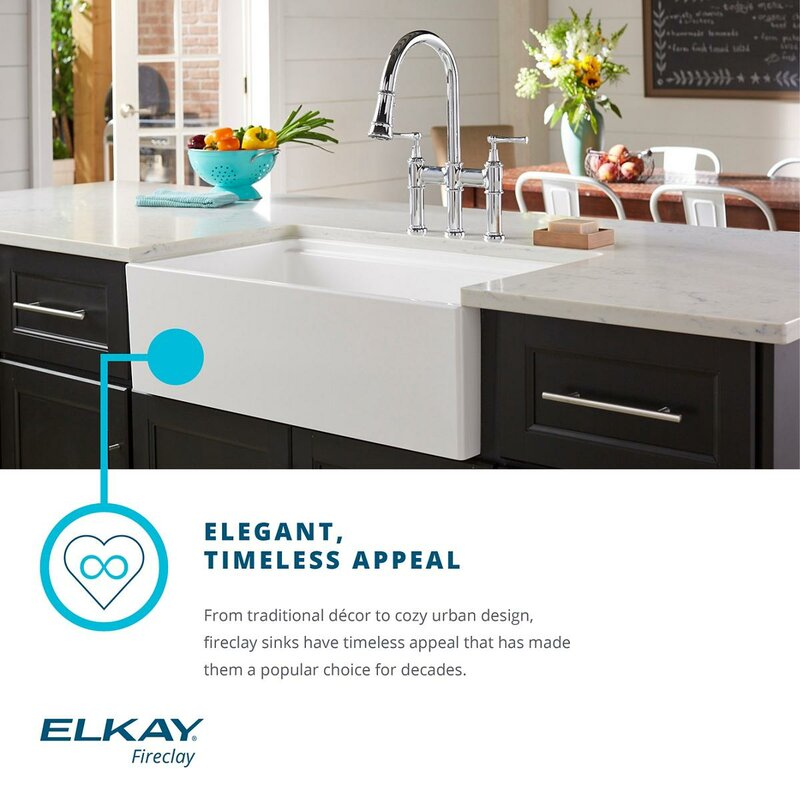 "Elkay Fireclay 30"" X 20"" Undermount Kitchen Sink & Reviews"