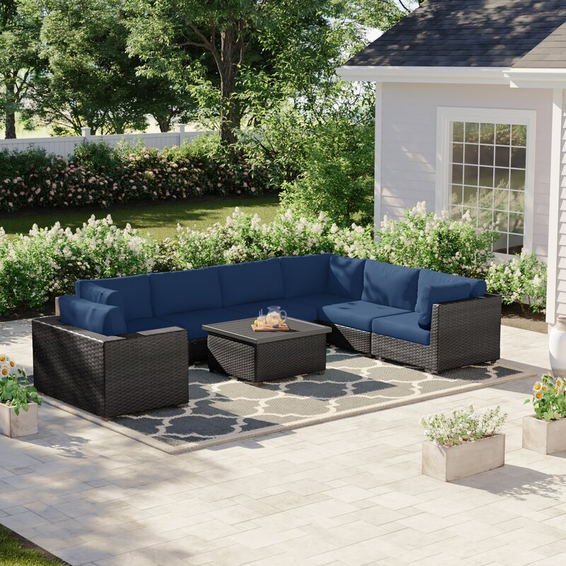 Sol 72 Outdoor Fernando 8 Piece Sectional Seating Group with Cushions