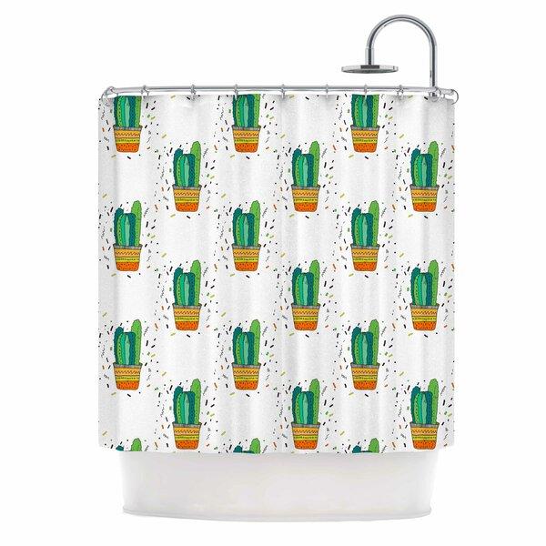 East Urban Home Cacti Cactus Fiesta Art Deco Sage Shower Curtain