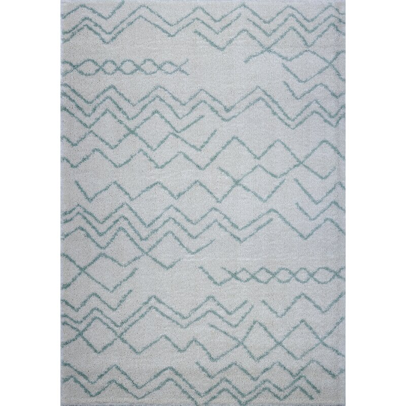 Foundry Select Jacoby Chevron Ivory Green Area Rug Wayfair