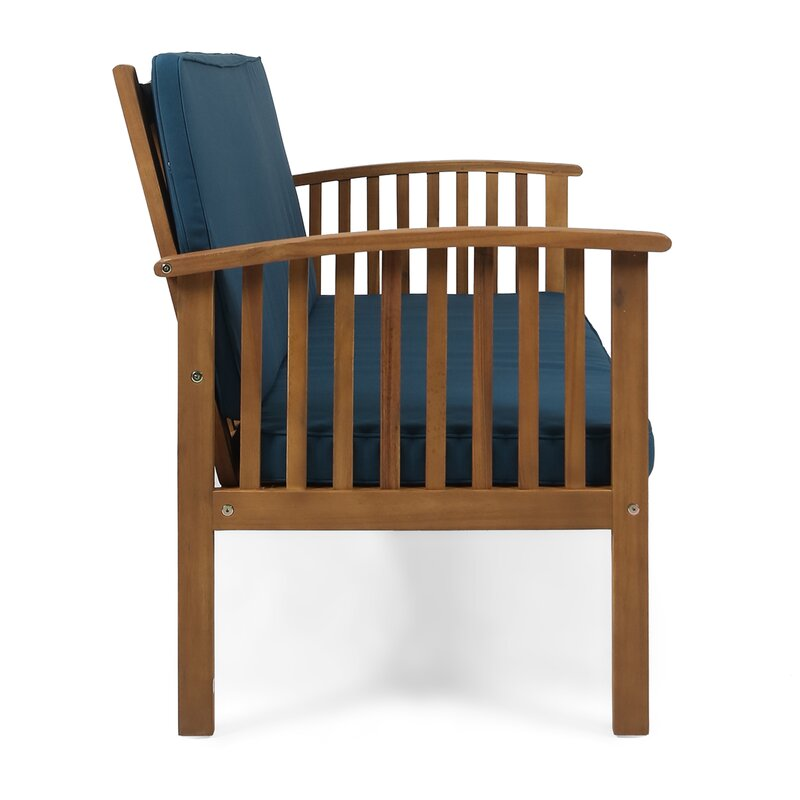 Incredible Safira Outdoor Acacia Wood Loveseat With Cushions Lamtechconsult Wood Chair Design Ideas Lamtechconsultcom