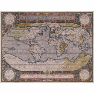 Antique world map wall art wayfair antique world map framed wall art publicscrutiny Choice Image