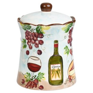 Grape Ceramic 2.35 Qt. Cookie Jar by Lorren Home Trends No Copoun