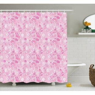 Simeon Paisley Flowers Leaves Shower Curtain + Hooks