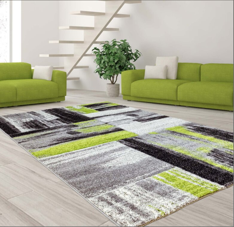 Ebern Designs Croskey Abstract Green Gray Area Rug Reviews Wayfair
