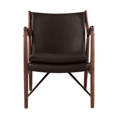 Rashad Armchair Corrigan Studio Upholstery: Brown Italian Leather/Walnut
