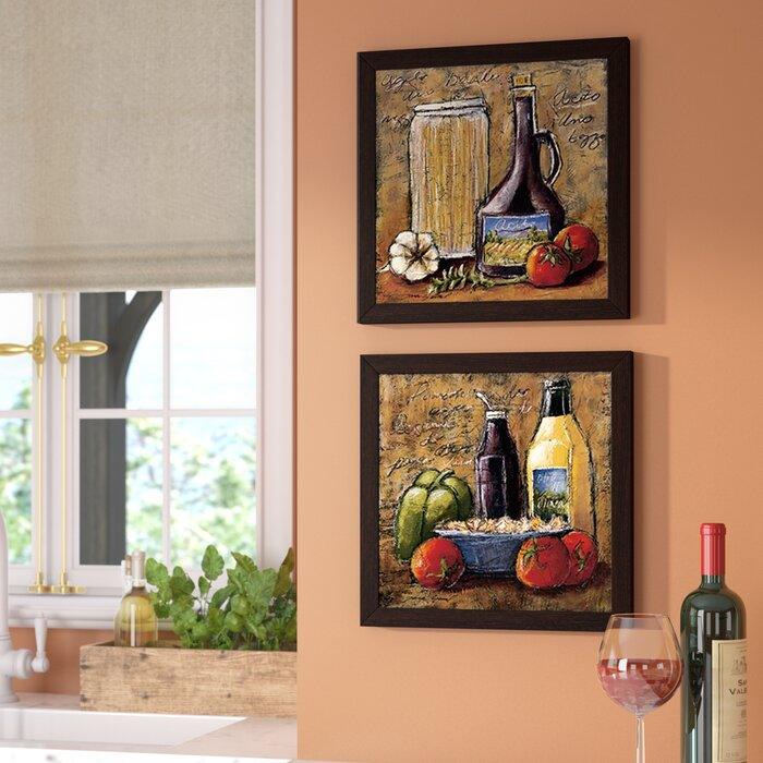 \'Rustic Kitchen IV\' 2 Piece Framed Acrylic Painting Print Set Under Glass
