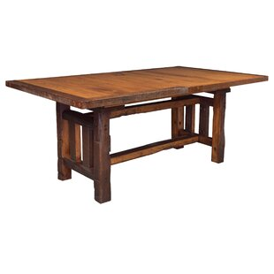 Rabon Barnwood Trestle Solid Wood Dining Table Loon Peak