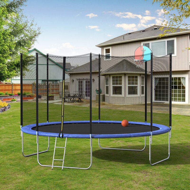 MTFY 12'' Round Backyard Trampoline with Safety Enclosure ...